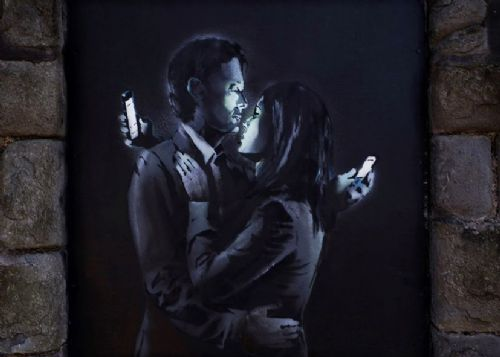 BANKSY - LOVERS KISS CLOSE canvas print - self adhesive poster - photo print